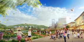 商业区滨水景观效果图