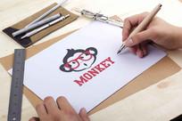 手绘卡通猴子LOGO
