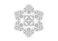 雪花样式花卉拼接雕刻纹样 AI