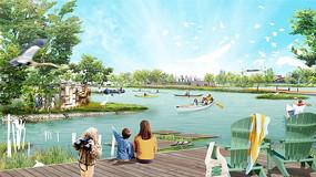 园区滨水区效果图