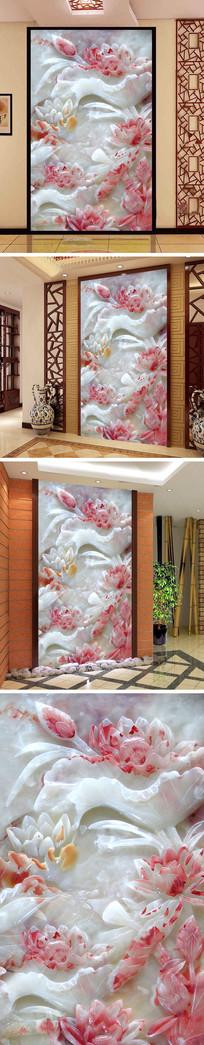 玉雕荷花鲤鱼玄关背景墙 TIF