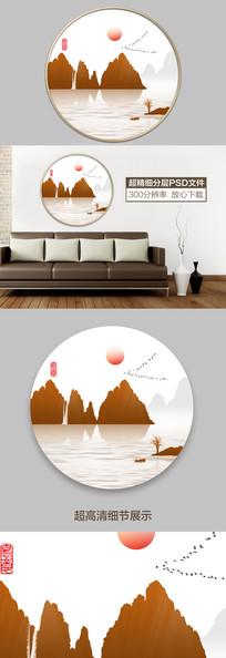 中式山水水墨意境装饰画 PSD