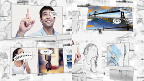 手绘涂鸦素描风格旅游照片相册视频