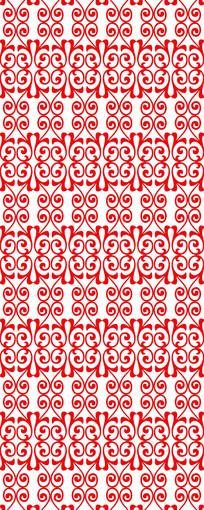 红花纹雕刻图案