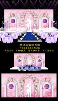 婚礼婚庆舞台背景 PSD