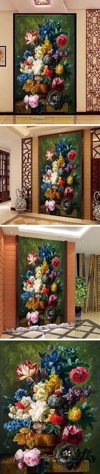 欧式花朵插花玄关背景墙