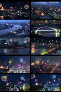 城市夜景烟花视频