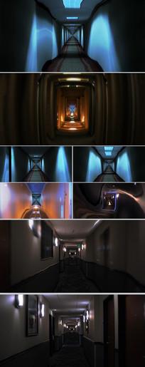 酒店走廊空间变形CG动画视频