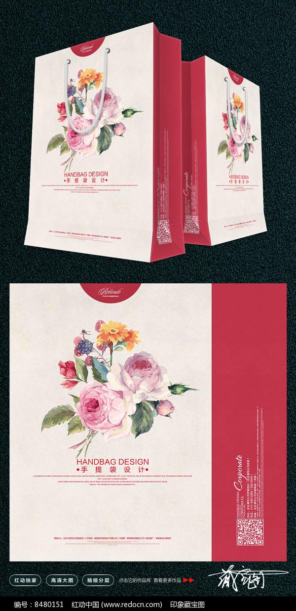 时尚手绘花朵手提袋设计图片