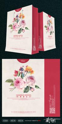 手绘花朵购物袋设计
