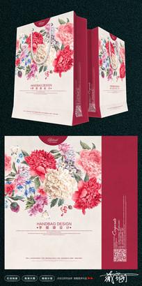 绚丽花朵手提袋模板设计