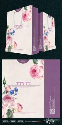 紫色清晰手提袋模板设计