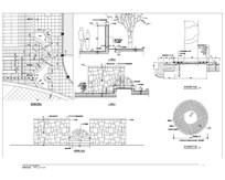 半圆景墙及树池花坛详图 CAD