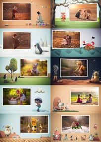 创意趣味卡通动物展示照片相册视频