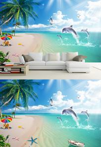 高清椰树海滩风景背景墙
