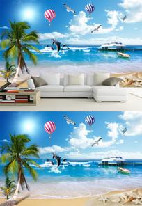 高清椰树海滩热气球背景墙
