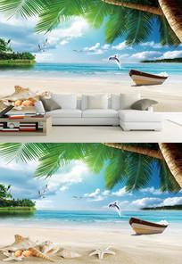 海景地中海椰树小船背景墙