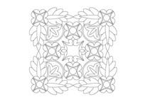 花朵与树叶拼接方形雕刻纹样