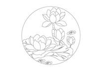 莲花荷叶圆形雕刻纹样
