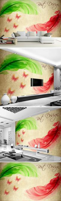 水彩羽毛客厅电视背景墙图片