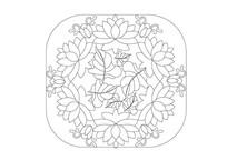 四边圆角矩形荷花元素雕刻纹样
