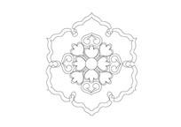 桃心元素六角异形雕刻纹样
