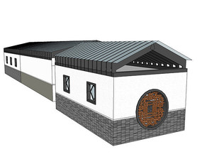 现代中式建筑模型
