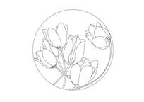 郁金香圆形雕刻纹样