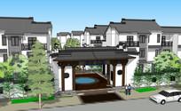 中式住宅小区大门建筑景观