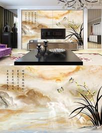 大理石水仙花 兰花背景墙