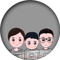 手绘卡通全家福插画 psd图片