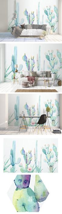 水彩仙人掌背景墙