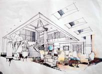 别墅室内设计透视图