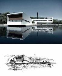 滨水建筑写生钢笔画 JPG