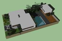 超精美别墅带庭院SU模型