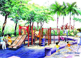 儿童活动区彩铅手绘效果图 JPG