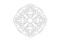 古典主义如意元素组合雕刻纹样