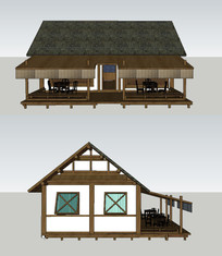 古风茶室店面设计su模型