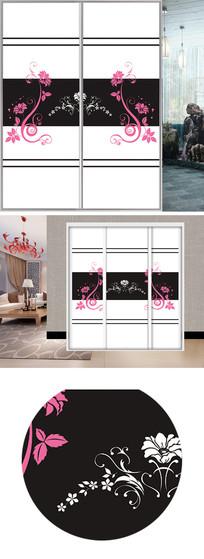花朵底纹线条衣柜移门图片背景
