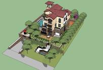 户外别墅带院子的SKP模型