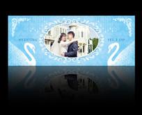 蓝色系婚礼背景板