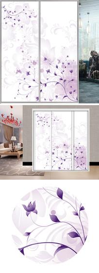 梦幻紫色花朵衣柜移门图片背景