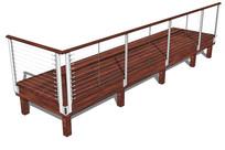 木平台金属拉丝栏杆模型 skp