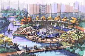 喷泉广场景观鸟瞰图