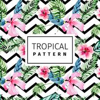 热带棕榈花绿色植物图案