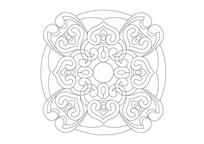 如意叠加圆形雕刻纹样