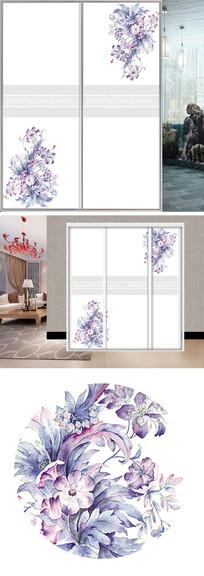 唯美花朵底纹衣柜移门图片背景