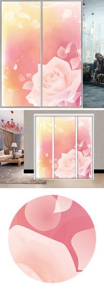 唯美透明玫瑰衣柜移门图片背景