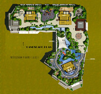 屋顶花园设计彩平psd素材 PSD