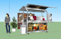 移动式咖啡售卖车SU模型 skp